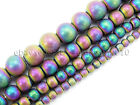 Natural Hematite Gemstone 4mm 6mm 8mm 10mm Round Beads Metallic Color Matte 16''