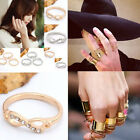 Unban Infinity Above the Knuckle Midi Crystal Bowknot Metal Finger Ring Punk HOT