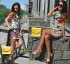 Sexy Women Fashion Round Neck Sleeveless Flower Printing Mini Retro Vest Dress