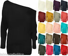Womens Ladies Long Sleeve Off Shoulder Mini Batwing Tunic Dress Top UK 8-26