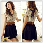 Lady New Style Chiffon Short Sleeve Polka Dot Waist Top Dresses Skirt S M L