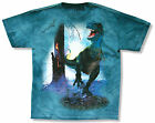 "THE MOUNTAIN ""T-REX W/ TREE"" TEAL TIE DYE T-SHIRT NEW OFFICIAL KIDS DINOSAUR"