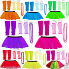 1980'S NEON CHRISTMAS FANCY DRESS HEN NIGHT COSTUME TUTU LEG WAR GLOVES BEADS