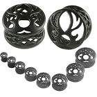 ear stretching plugs Tunnels Expanders black PVD Alloy Double Flared 2Pcs 9HSH
