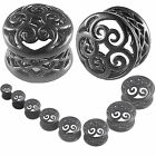 ear expanders set Taper Stretchers Tunnels Plug Black Double Flared 2Pcs 9HSL