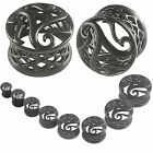 ear tunnel set Kit Stretcher Taper Plugs Expander Double Flared Black  2Pcs 9HSN