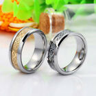 Mens Tungsten Carbide Silver/Gold Dragon Celtic Scroll Inlay Ring Wedding Band