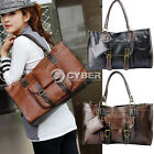 Fashion Handbag Women's Stitching Cross PU Leather Retro Tote Bag Shoulder Purse
