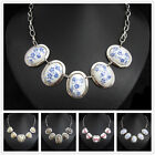 XC705 Coloured Glaze Blue Porcelain Silver Plated Alloy Necklace