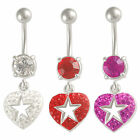 Heart Belly Button Ring Navel piercing dangle bars steel dangly jewellery 9KAU