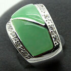 Natural Green Jade Gems 22X16mm 925 Sterling Silver Marcasite Ring Size 7/8/9/10