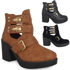 WOMENS LADIES ANKLE BLOCK HEEL CUTOUT STRAPPY BUCKLES CHELSEA BOOTS SHOES SIZE
