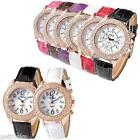 Racing Art Numeral Style Dial Analog Quartz PU Band Wrist Watch Womens Decorated