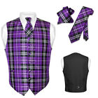 Men's Plaid Design Dress Vest NeckTie Purple Black White Neck Tie Set