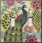 Light Switch Plate Cover - Peacock Bird With Floral Medallions - Home Decor