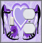 Metal Light Switch Plate Cover - Fashion High Heel Shoes Decor Flower Purple