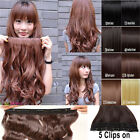 Women Lady Full Head Synthetic Cip In On Hair Extensions Accessory 5 Clips AAA75