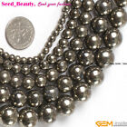 Jewelry making Beads smooth round silver gray pyrite Loose Gemstone 15""
