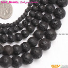 "Fashion Round Black Lava Rock Gemstone Loose Beads Strand 15""Size Selact"