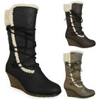 WOMENS LADIES MID-CALF ZIP WINTER LACE UP COMFY WARM MID HEEL WEDGE BOOTS SIZE