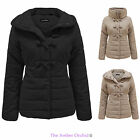 BRAVE SOUL WOMENS PUFFER QUILTED PADDED COLLAR LADIES DUFFLE COAT WINTER JACKET