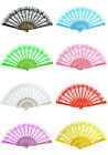 Chinese Japanese Foldable Lace Trim Hand Fan 8 Colors Floral Print Chun Style