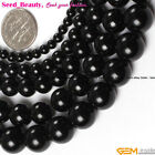 Genuine Natural Round Black Tourmaline Gemstone Jewelry Making Loose Beads 15""