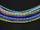 Hematite Gemstone Rectangular Bar Beads 16'' Metallic Multi-Colored Silver Gold
