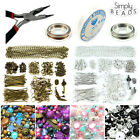JEWELLERY MAKING STARTER KIT - FINDINGS CHARMS CHAIN BEAD CAP BRONZE SILVER GOLD