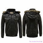 MENS STAND COLLAR VINTAGE PU FAUX LEATHER SLIM FIT COAT HOODED ZIP BIKER JACKET