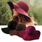Fashion  Women Lady wide brim 100% wool felt bowler fedora hats Floppy Cloche