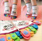 Lady's Girl cartoon Five Toe Fingers Smile Face Colorful Socks