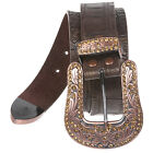 Snap On Western Crocodile Print Rhinestone Leather Belt