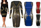 Ladies Womens Kim Kardashian Inspired Black Foil Dress Bodycon