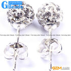 white pave shining swarovski crystal ball silver plated stud earrings for girls