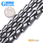 "drop Black Hematite gemstone loose beads strand 15"" jewelery making beads"