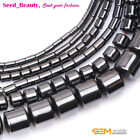 "Natural Black Hematite GEM Seed Beads Strand 15"" Column Tube Smooth No-magnetic"