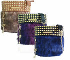 Ladies Anna Smith LYDC Designer Fur Studs Handbag Ladies Key Charm Massenger Bag