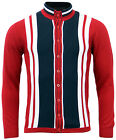 NEW MOD 70s RETRO STRIPED FUNNEL COLLAR KNITTED SHIRT CARDIGAN OTIS RED MC141