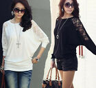 New Lace Splice Round Neck Batwing Long Sleeve Women Lady T Tee Shirt Top Blouse