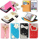 Flip Leather Magnetic Flower Bling Wallet Purse Hard Case Cover For iPhone 4G 4S