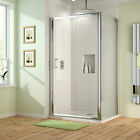 Walk In Sliding Shower Enclosure Corner Glass Screen Door + Bathroom Stone Tray