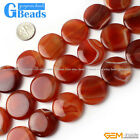 25mm Natural Stripe Sardonyx Agate Gemstone Coin Beads For Jewelry Making 15""