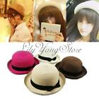 Lady Fashion Summer Beach Sun Floppy Straw Black Bow Ribbon Trim Sunhat Hat Cap