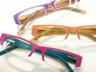 Browline Half Frame Reading Glasses Optical Quality Acetate Orange Purple Pink