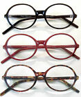 3/$29 YALE Big Round Reading Glasses Black Red Tortoise Unisex Geek-Style
