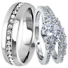 3 pc His Hers 925 STERLING SILVER Engagement Wedding Band Rings Set Mens Womens