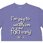 "MAD KEEN FISHING T SHIRT INFANTS MAUVE ""I'M GOING TO WALK LATE AND FISH EARLY"""