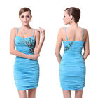 Bag Hip Blue High Stretch Ruffles Sweetheart Neck Embroidery Club Dress 03590