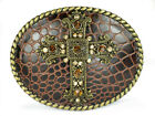 Oval Religious Cross Rhinestone Leather Belt Buckle
